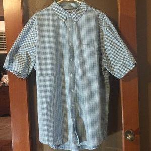 Croft Barrow check blue short sleeve button shirt